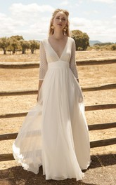 Ethereal 3/4 Sleeve Plunging Chiffon Wedding Dress With Lace Top And Deep V-back