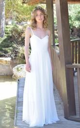 Spaghetti Chiffon Long Wedding Dress With Backless Design