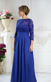 Bateau 3-4-sleeve Chiffon Mother of the Bride Dress With Lace top