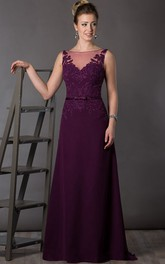 Sleeveless Brush-Train Floor-Length A-Line Deep-V-Back Appliqued Dress