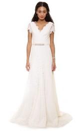 A-Line Low-V Back Inspire Low-V-Neck Floor-Length Lace Dress