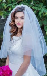Simple Fluffy Short Double Layer Wedding Veil