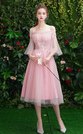 Off-the-shoulder Tulle Tea-length Formal Dress With Appliques
