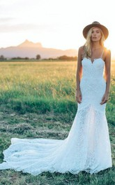 Spaghetti Lace  Sleeveless Wedding Dress