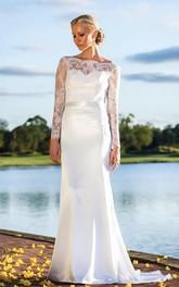 Lace Illusion Bridal Sleeveless Sweetheart Satin Dress