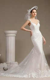 Sexy V-neck Mermaid Wedding Gown With Appliqued Straps Illusion Back And Lace