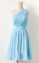casual short mini Chiffon Sleeveless Bridesmaid Dress With Ruching