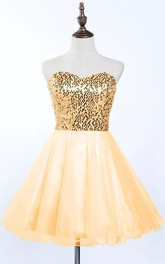 Sleeveless A-line Short Mini Sweetheart Pleats Sequins Tulle Sequins Homecoming Dress