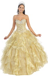 Sweetheart Cascading Ruffled Jeweled Strapless Organza Lace-Up-Back Ball Gown