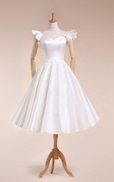 Wedding Pleated Bell Sleeve Tea-Length Scalloped Gown