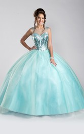 Tulle Keyhole Back Sequined-Bodice A-Line Sleeveless Ball Gown
