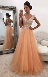 V-neck Tulle Short Sleeve Floor-length Beading Pleats Dress