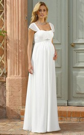 Sheath Cap Sleeve Empire Square Neck Jeweled Chiffon Wedding Dress