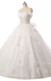 Tulle Floral Lace-Up Back Ball-Gown Princess Dress