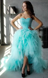 Sleeveless Rhinestone High-Low A-Line Lace-Up Ruffled Gown