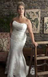 Strapless Mermaid Lace Appliques Wedding Dress With Sweep Train And Corset Back