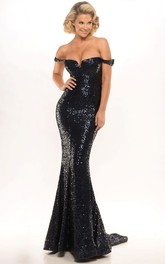 Off-the-shoulder Sequined fishtail Prom Dress With Pleats