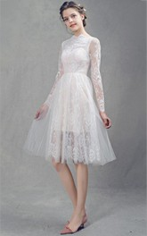 High Neck Illusion Long Sleeve Tulle Knee-length Wedding Dress With Lace