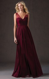 Sleeveless V-Neck Long Bridesmaid Dress With Beadings And Illusion Style