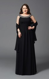 A-line Floor-length Scoop Chiffon Beading Cape Low-V Back Dress