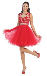 A-Line Illusion Appliqued Ruffled Short Mini Sleeveless Scoop-Neck Tulle Dress