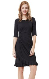 Short-Midi Ruffled Half-Sleeved Unique Dress