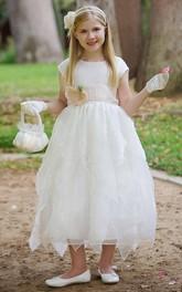 Organza Cap-Sleeve Layered Taffeta Flower Girl Dress