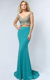 Column Jeweled V-Neck Sleeveless Low-V-Back Jersey Dress