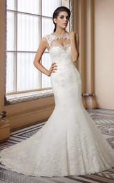 Scoop-neck Cap-sleeve Mermaid Wedding Dress With Beading And Keyhole