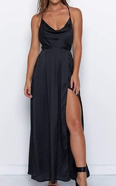 Sexy V-neck Cowel A Line Satin Prom Dress With Ruffles and Split Front