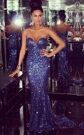 Sleeveless Zipper Sweetheart Trumpet Sequined Long-Train Dress
