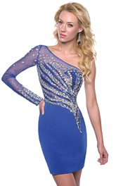 Long Rhinestones Illusion-Sleeve One-Shoulder Homecoming Column Dress