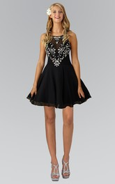 A-Line Mini Scoop-Neck Sleeveless Chiffon Straps Dress With Crystal Detailing