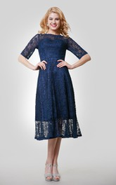 Tea-Length Jewel Neck Lace Half-Sleeve Gown