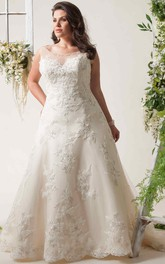 plus size Scoop-neck Sleeveless Appliqued Wedding Dress With Illusion