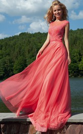 Scoop-neck Cap-sleeve long Dress With Appliques And Keyhole