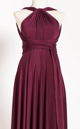 Haltered Pleated long Maternity Dress With bow