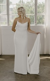 Spaghetti Straps Simple Sheath Wedding Dress With Open Back And Straps In Court Train