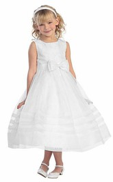 Layered Organza Pleated Tea-Length Lace Flower Girl Dress