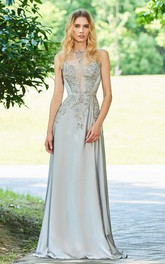 Elegant Chiffon Sleeveless Button Back Prom Gown With beading And Appliques