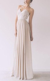 Long Lace Top Sleeveless Sweetheart Chiffon Gown