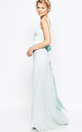 Ankle-Length Sheath Sleeveless Bateau Neck Bowed Chiffon Bridesmaid Dress
