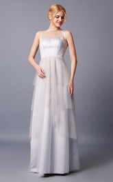 Layered Keyhole Strapless Brilliant Tulle Dress