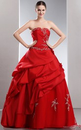 Flamboyant Embroideries Crystal A-Line Layered Ball Gown