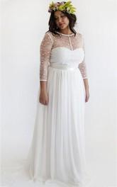 Long-Sleeve T-Shirt Chiffon Short A-Line Zipper Illusion Dress