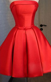 Strapless Red Short Prom With Pleats