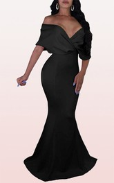 Modern Off-the-shoulder V-neck Mermaid Satin Formal Dress With Criss Cross