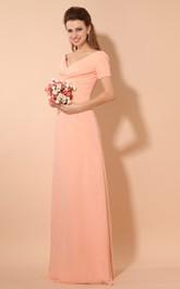 Floor-Length Pleated Short-Sleeve Plunged Chiffon V-Neckline Gown