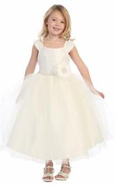 Layered Cap-Sleeve 3-4-Length Flower Girl Dress