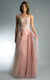 Jewel Tulle Floor-Length A-Line Low-V-Back Sleeveless Gown